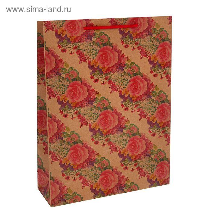 """Пакет крафт """"Розы"""", 23 х 32 х 8,5 см"""