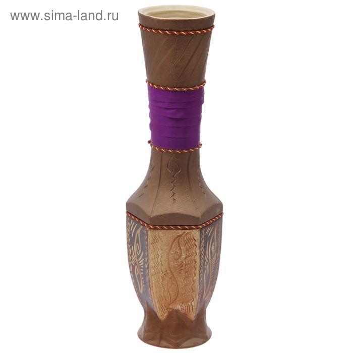 """Ваза напольная """"Нирвана"""" ангоб, фиолетовая лента"""