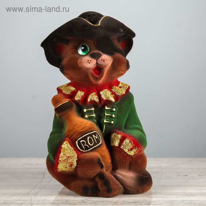 "Копилка ""Кот пират"" флок, коричневая"