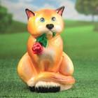 """Садовая фигура """"Кот с цветком"""" глянец, оранжевая"""