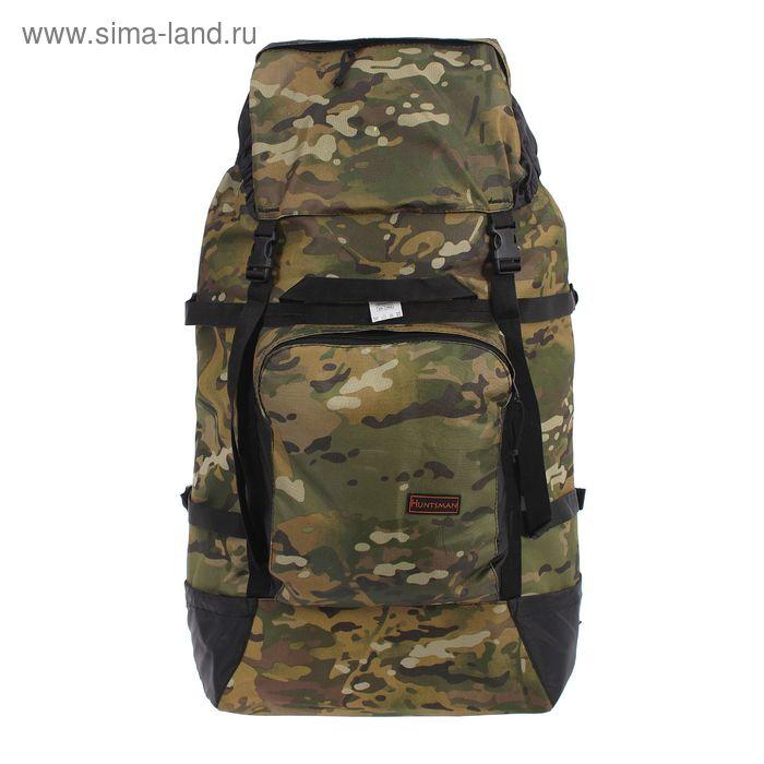 """Рюкзак туристический на стяжке шнурком """"Камуфляж"""", 1 отдел с увеличением, 4 наружных кармана, объём - 100л, цвет хаки"""
