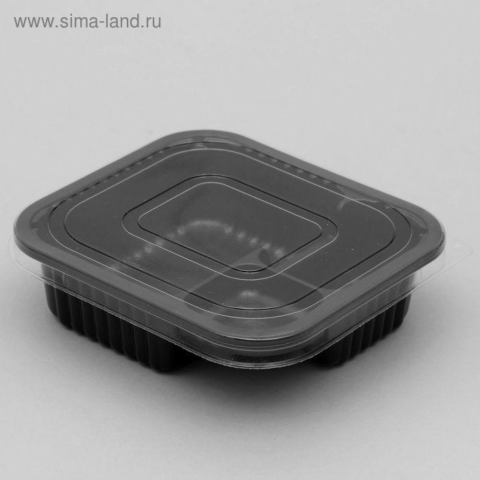 Лоток с крышкой 14х13х4 см, цвет черный