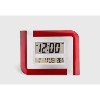 Часы настенные электронные с календарем, таймером и термометром, 26х20х3 см, микс