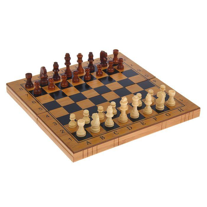 """Настольная игра, набор 3 в 1 """"Калибр"""": нарды, шахматы, шашки, доска 30х30 см"""