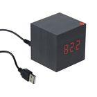 """Часы-будильник LuazON LB-12 """"Деревянный кубик"""", USB в комплекте, черный"""