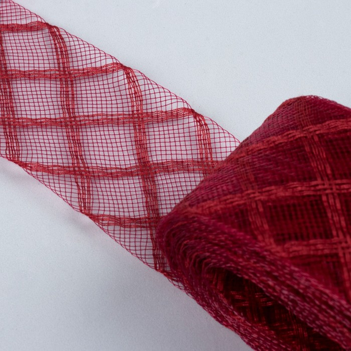 """Регилин плоский """"Клетка"""", 45мм, 22±1м, цвет бордовый"""