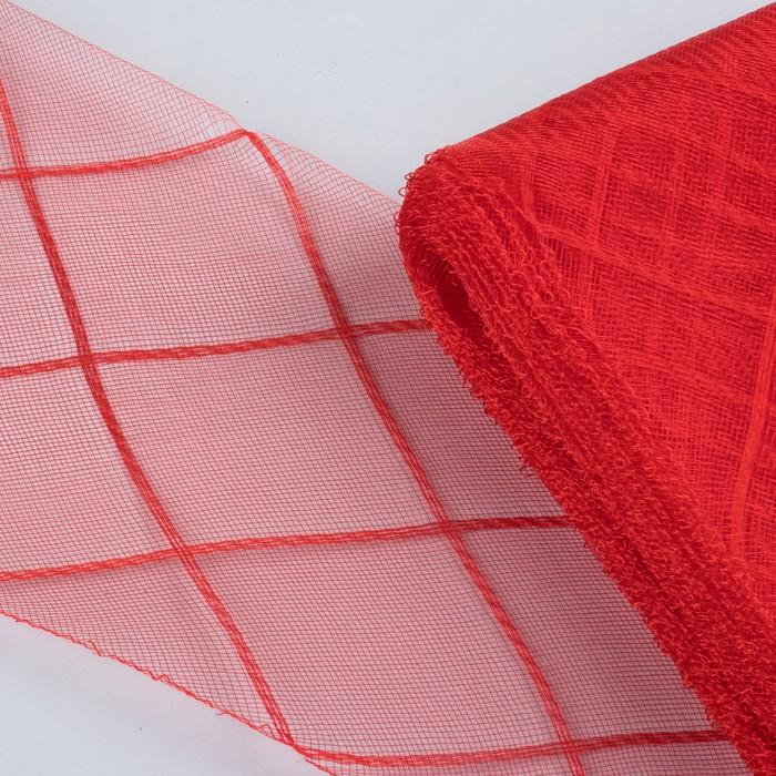 """Регилин плоский """"Клетка"""", большая, 160мм, 25±1м, цвет красный"""
