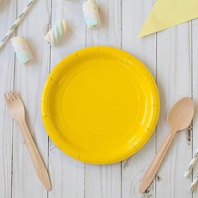 Тарелка бумажная однотонная, желтый цвет (18 см) Ош