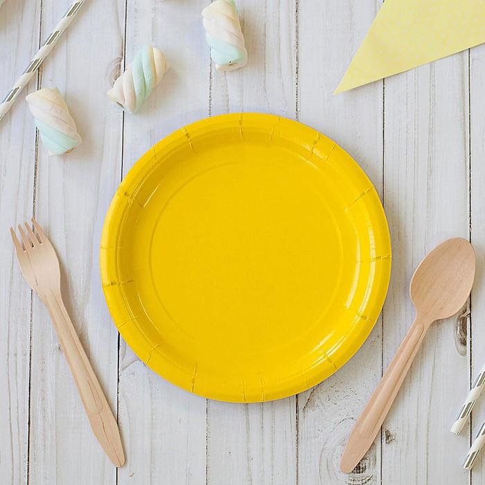 Plate, paper, monochrome, yellow (18 cm)