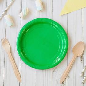 Тарелка бумажная, однотонная, 18 см, зелёный цвет в Донецке