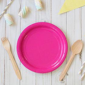 Тарелка бумажная, однотонная, 18 см, розовый цвет