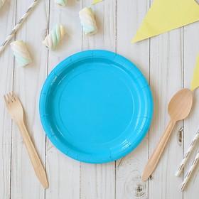 Тарелка бумажная, однотонная, 18 см, голубой цвет