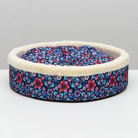 Лежанка круглая с двусторонней подушкой, 46 х 13 см микс цветов