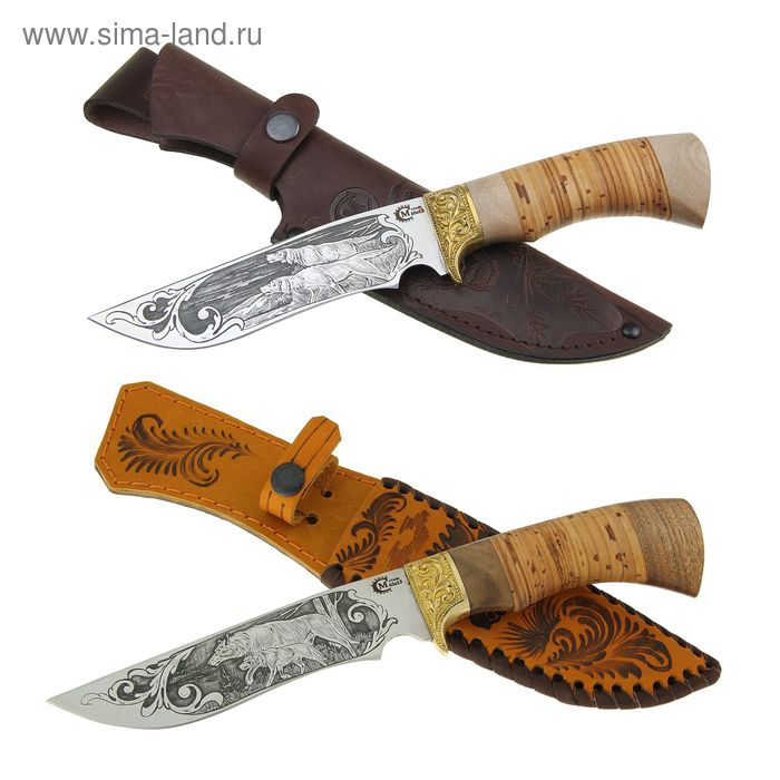 """Нож нескладной """"Галеон"""", сталь 65х13,рукоять-береста, литье, гравировка"""