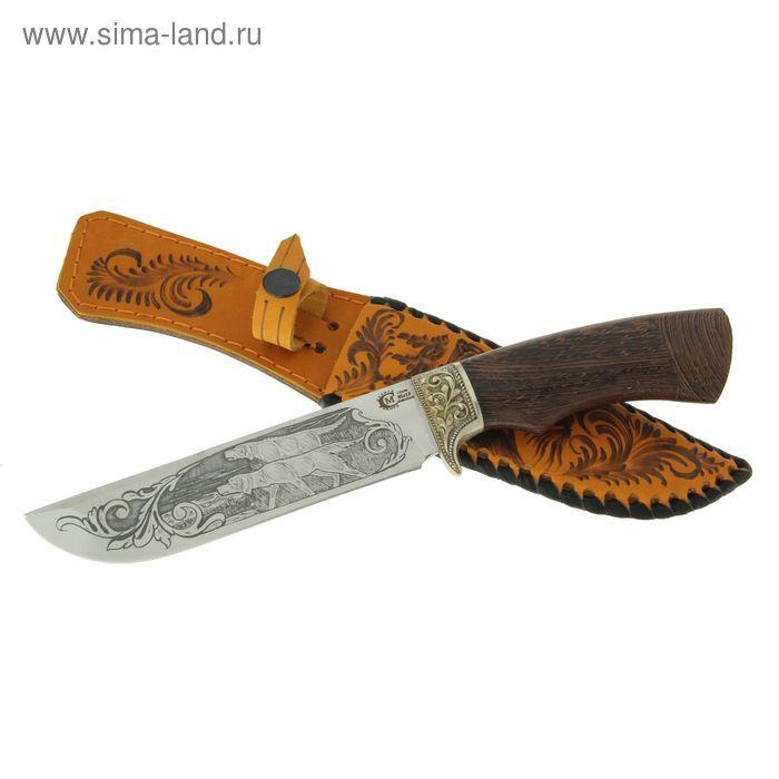 """Нож нескладной """"Варяг"""", кованная сталь 95х18, рукоять-венге, литье, гравировка"""
