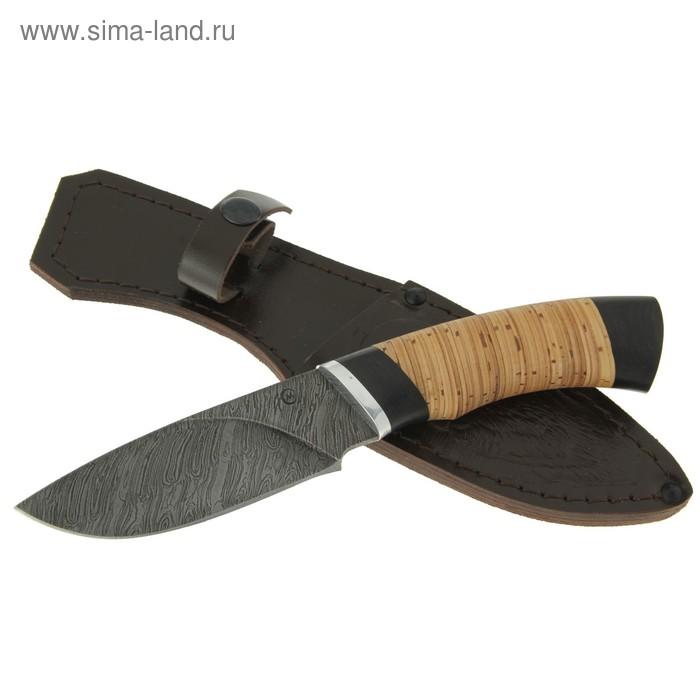 """Нож нескладной """"Разделочный"""", дамасская сталь, рукоять-береста, граб, дюраль"""
