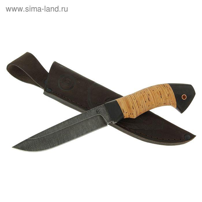 """Нож нескладной """"Ястреб"""", дамасская сталь, рукоять-береста, граб, дюраль"""