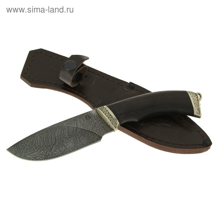 """Нож нескладной """"Разделочный"""",  дамасская сталь, рукоять-черное дерево, литье"""