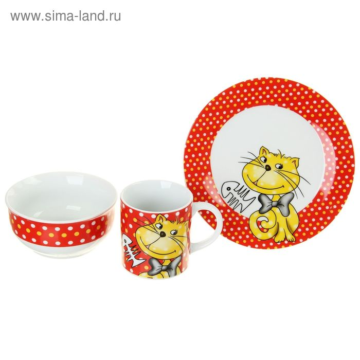 """Набор детской посуды  """"Котофей"""", 3 предмета: тарелка, салатник, кружка УЦЕНКА"""