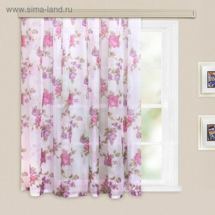 Штора вуаль-печать, принт МИКС, ширина 150 см, высота 260 см, цвет тёмно-розовый