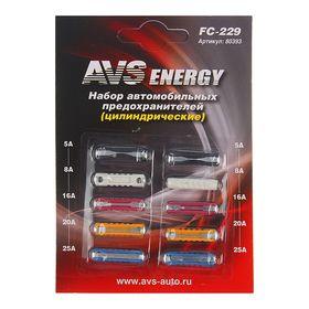 Предохранители AVS FC-229, цилиндрические, 5-25 А, набор 10 шт.