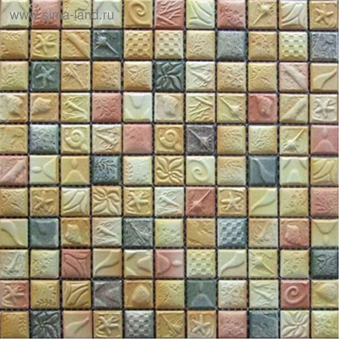 Мозаика керамическая Elada Mosaic SН-W2510, жёлто-оранжевая морская, 300х300х6 мм