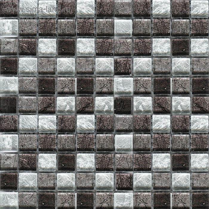 Mозаика стеклянная Elada Mosaic JSM-JB024, cерая жатая, 327х327х4 мм