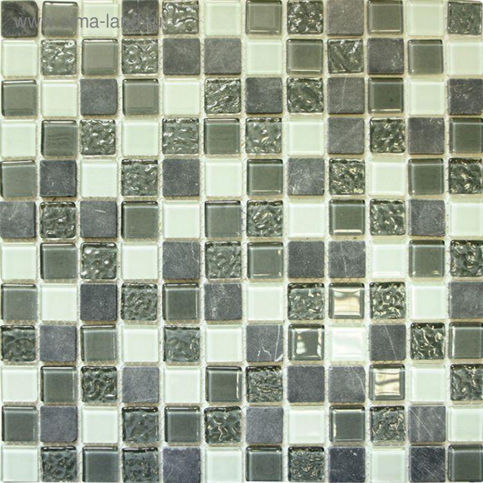 Mозаика стеклянная Elada Mosaic CTB 28, пепельно-серая Crystal+Stone, 327х327х4 мм