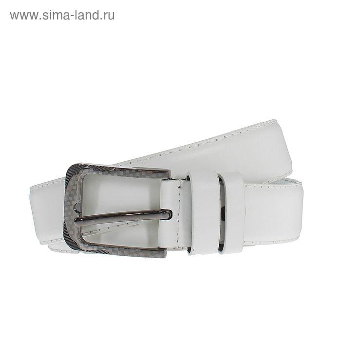 Ремень мужской гладкий, пряжка под металл, ширина - 4см, белый