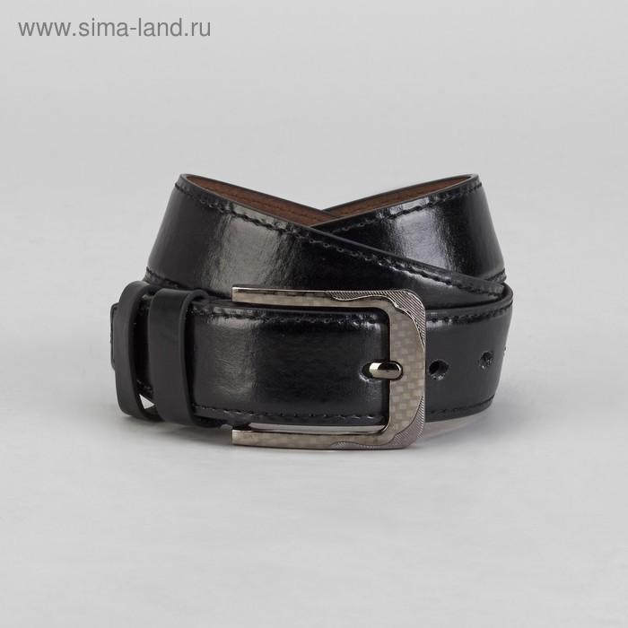 Ремень мужской гладкий, пряжка под металл, ширина - 4см, чёрный