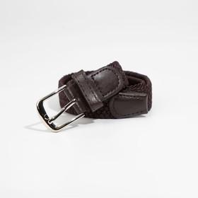 Ремень, резинка плетёнка, пряжка металл, ширина - 3 см, цвет коричневый
