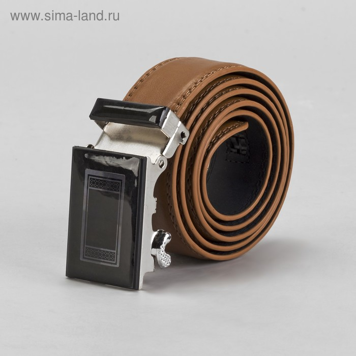 Ремень мужской гладкий, пряжка-автомат МИКС, ширина - 4см, коричневый