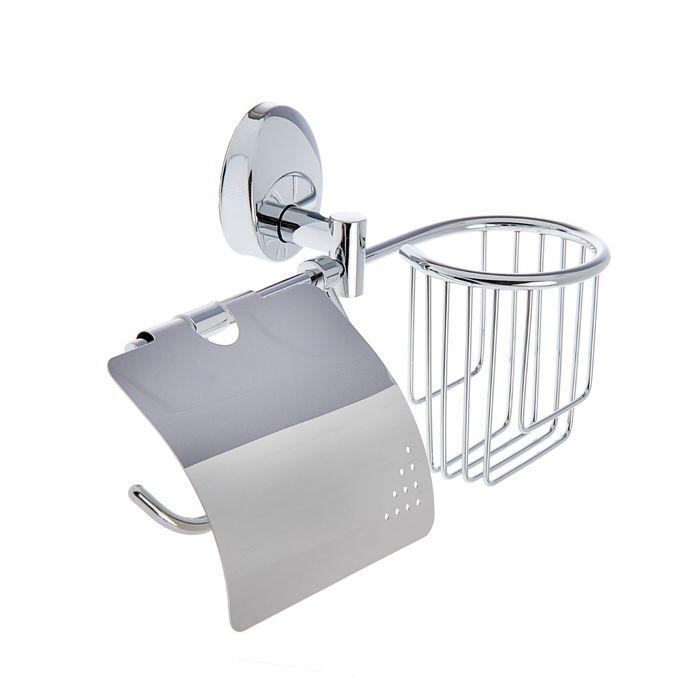 """Держатель для туалетной бумаги, отсек под дезодорант """"Accoona A11005-1"""", цвет хром - фото 1651567"""