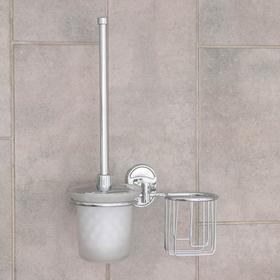Ёрш для унитаза с подставкой настенный Accoona, 22×12×28 см, с отсеком под освежитель, цвет хром