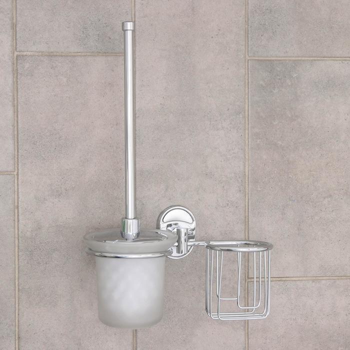 Ёрш для унитаза с подставкой настенный Accoona, 22×12×28 см, с отсеком под освежитель, цвет хром - фото 1651612