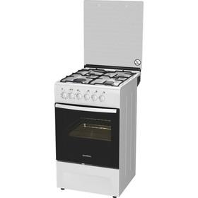 Плита Darina F KM 341304W, комбинированная, 4 конфорки, 43 л, электрическая духовка, белая