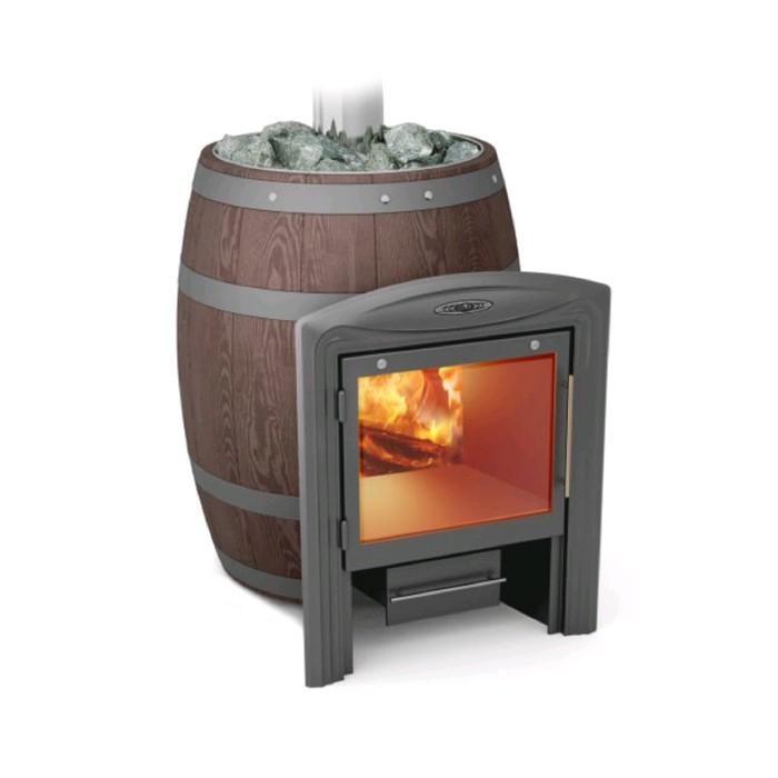 Печь банная бочка Термофор Вариата Баррель Inox витра палисандр