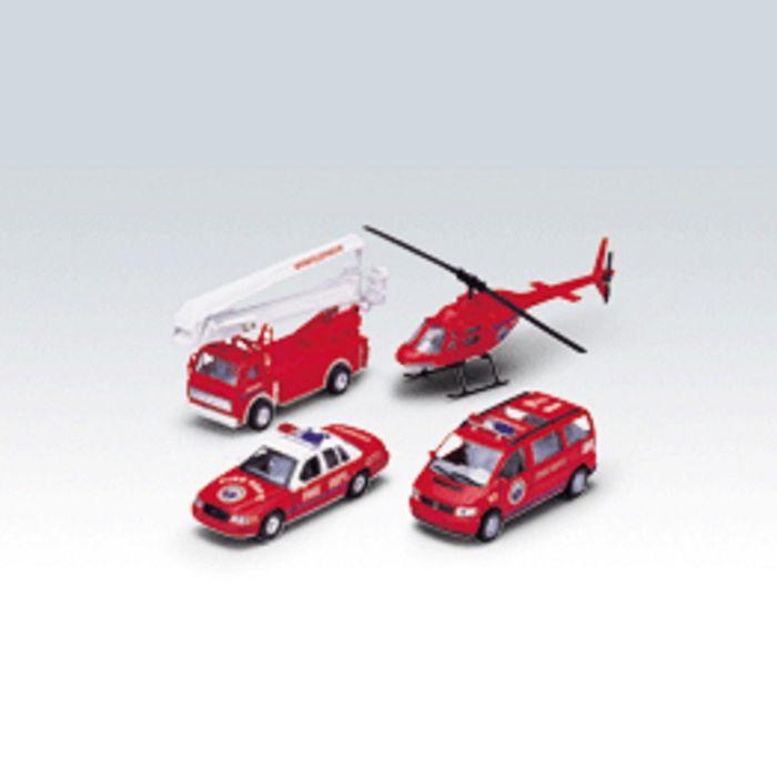 """Коллекционные модели машин """"Пожарная служба"""", набор 4 шт."""