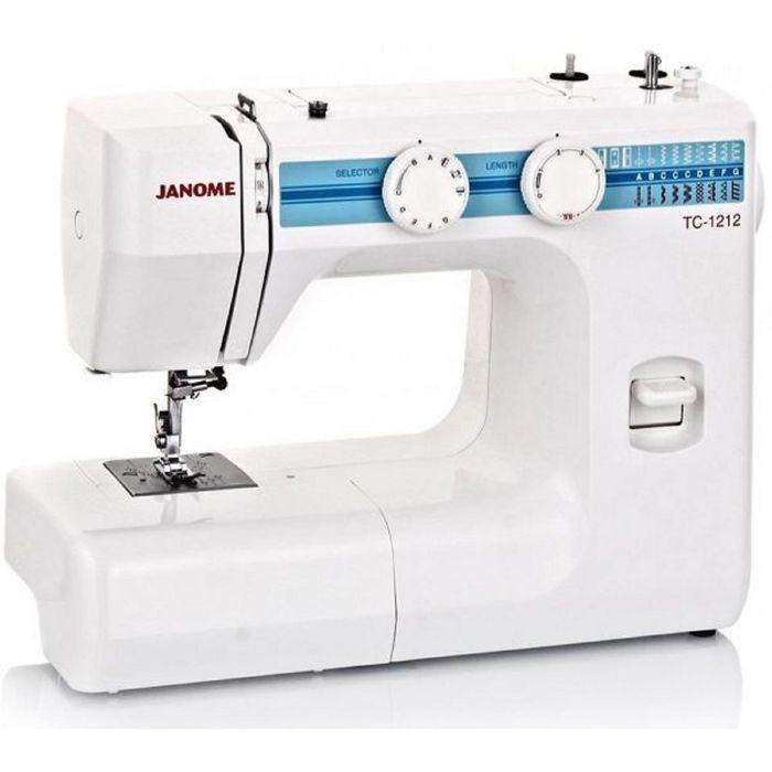 Швейная машина Janome TC-1212, 15 операций, полуавтоматическая обработка петли, белый