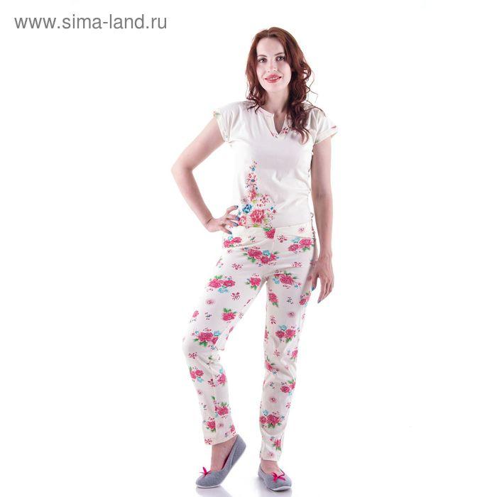 Брюки женские 30992, белый/цветы, р-р 52