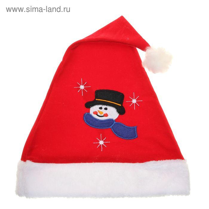 """Колпак новогодний """"Со снеговиком"""" 28*41 см"""