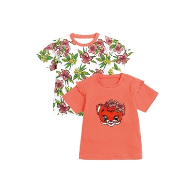 Рубашечка с коротким рукавом, 1-3 месяца, 2 шт, цвет белый/коралловый