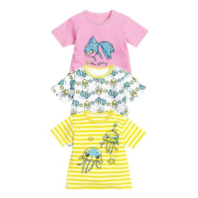 Рубашечка с коротким рукавом, 3-6 месяцев, 3 шт, цвет жёлтый/белый/розовый