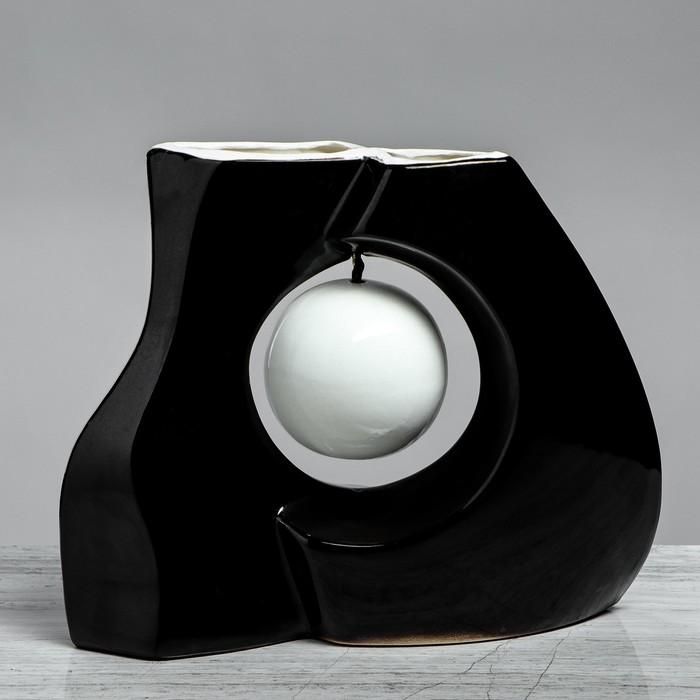 """Ваза настольная """"Принцип"""" глазурь, чёрная, белый шар, 24 см, керамика"""