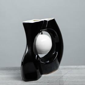 """Ваза настольная """"Принцип"""" глазурь, чёрная, белый шар, 24 см - фото 1703605"""