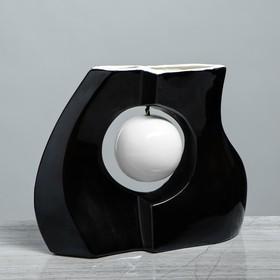 """Ваза настольная """"Принцип"""" глазурь, чёрная, белый шар, 24 см - фото 1703606"""