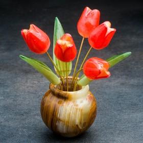 "Souvenir ""Tulips in vase"", flowers 5, small, 9×12 cm, Selenite, onyx"