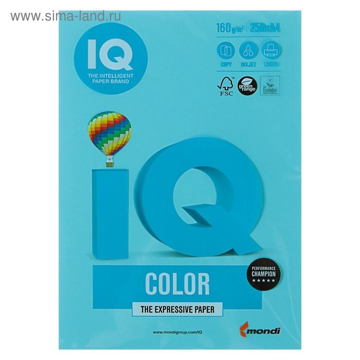 Бумага цветная IQ COLOR (А4,160г,MB30-голубой) пачка 250л.