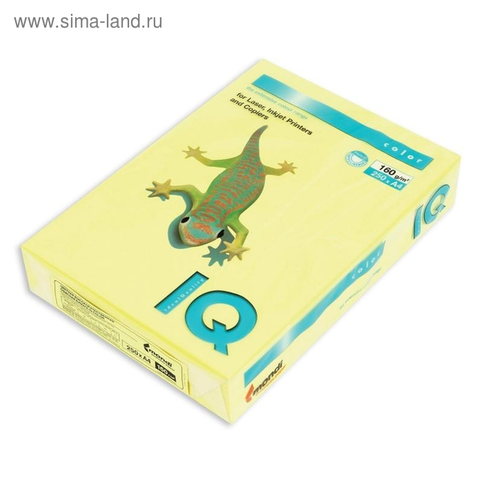 Бумага цветная IQ COLOR (А4,160г,ZG34-лимонно-желтый) пачка 250л.