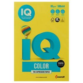Бумага цветная А4 500 л, IQ COLOR, 80 г/м2, желтый, CY39